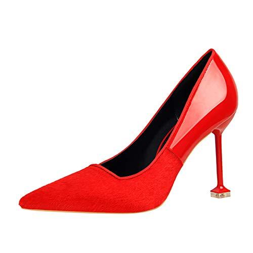 alto zapatos Boca Caqui Zapatos tacón Rojo De Solos Hembra Tacones Red Moda de Costura Aguja 39 Otoño Baja Yukun Caballo Pelo del Acentuado tpdqp