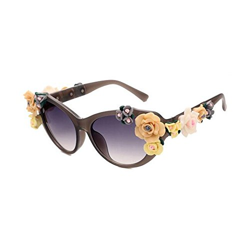 Mr Rabbit Women's Fashion Metal and Plastic Retro Decor Floral Flower Sunglasses(Gray) (Hairspray Merchandise compare prices)