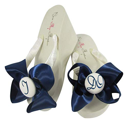 15e02a3df7e Amazon.com  Navy Blue I DO Satin Bow Flip Flops for the Wedding Choose your  own colors  Handmade