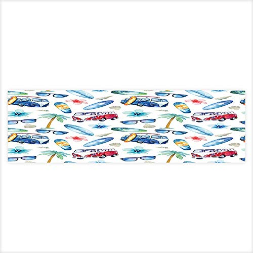(Auraisehome Fish Tank Decorations Watercolor Beach,Adventure,Bike,motorollier,Tree Seamless Pattern Watercolour HD Fish Tank Decorations Sticker 29.5