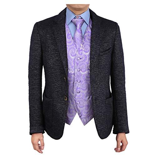 Epoint EGD1B01A-2XL Medium Purple Patterns Vest Microfiber Lawyers Dress Vests Neck Tie Set Cheap For -