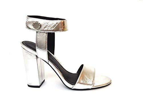 Sandalo con Tacco Kendall+Kylie Rowan In Pelle Argento plateado