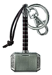 Marvel Comics Avengers Thor\'s Hammer Pewter Keychain Key Ring With Clip