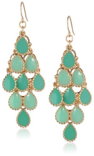 "Gold-Tone and Tonal Green Epoxy Teardrop Kite Earrings, 2"""