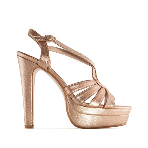 Andres Machado AM5192.Sandalias con Plataforma. Tallas Pequeñas y Grandes 32/35-42/45. Para Mujer. Oro