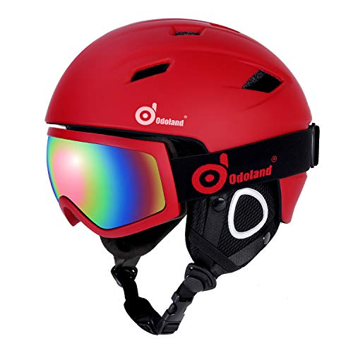 Odoland Ski Helmet with Ski Goggles, Multi-Options Snowboard Helmet and Goggles Set for Men Women Youth and Kids, ASTM Safety Certificated,Red,X-Large ...etc (Womens Helmet Red Snowboard)