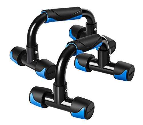 Readaeer Metal Pushup Bars Stands Handles Set for Men and Women Workout (Blue+Black)