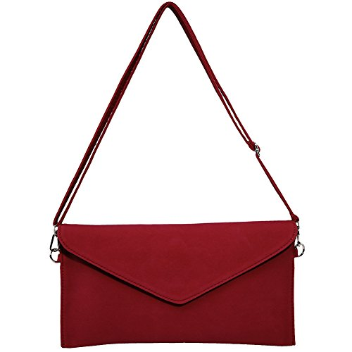 Suede Red KorMei Cluth WeddingParty Envelope Bag Handbag Bridal Faux Womens Ladies Soft TInBPIg