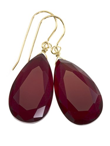 14k Yellow Gold Red Simulated Ruby Earrings Faceted Large Pear Teardrops Simple Briolette Dangle Drops Faceted Ruby Earrings