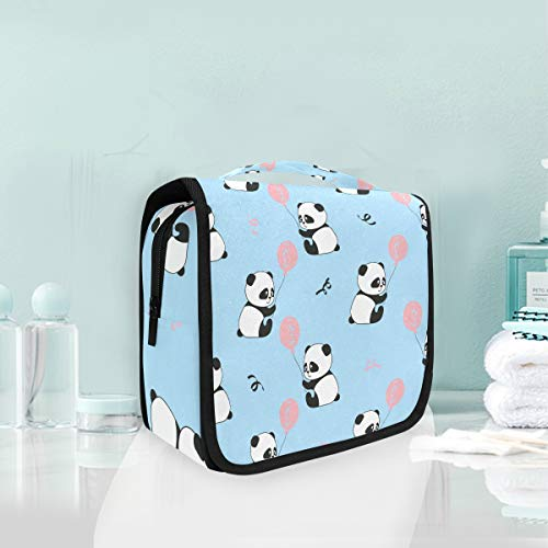 Makeup Bag Cosmetic Storage Bag Cute Panda Bears Balloons Seamless Pattern Toiletry Portable