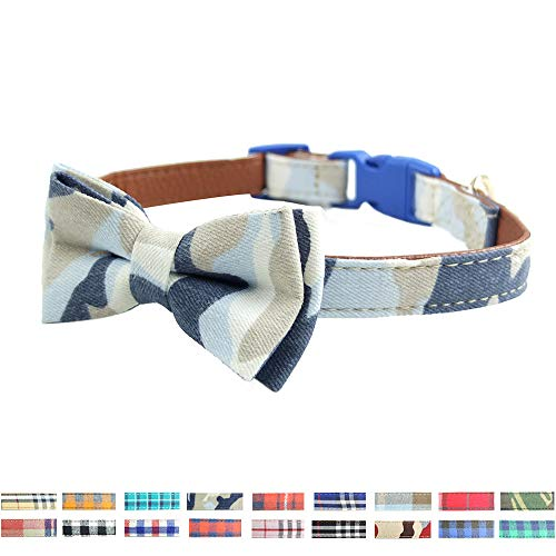 Bow Tie Dog Collar - Cute Plaid Sturdy Soft Cotton&Leather Dog Collars for Small Medium Large Dogs Breed Puppies Adjustable 18 Colors and 3 Sizes