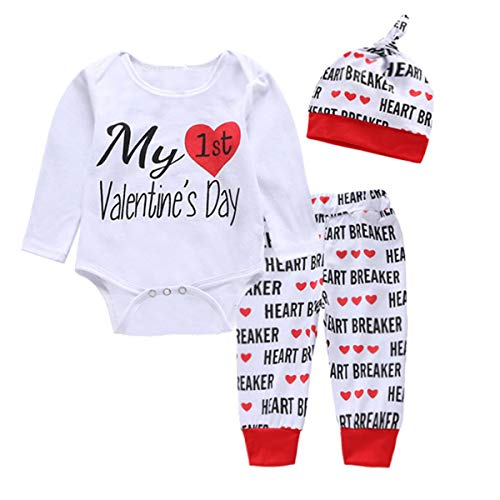 My First Valentine's Day Newborn Baby Boys Girls Romper Pants Hat Outfits Clothes Set (0-6 Months, White)