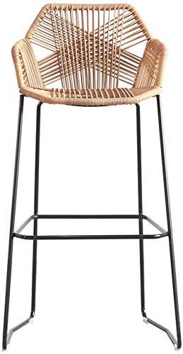 Bar stoolsQX IAIZI Taburete de la Barra Silla de Comedor Rattan Hecho a Mano |Rattan de Mimbre |Al Aire Libre Muebles del Patio, Patio Trasero, Porche, jardin (Size : Height 65cm)