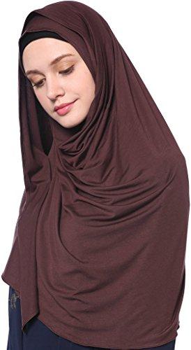 YI HENG MEI Women's Modest Muslim Islamic Soft Solid Cotton Jersey Inner Hijab Full Cover Headscarf,Coffee by YI HENG MEI (Image #3)