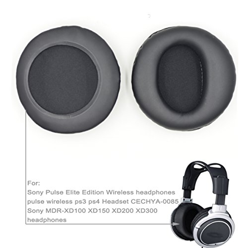 Wireless Ps3 Pad (90mm Black Ear Pads for Sony MDR-XD100 XD150 / Sony Pulse Elite Edition Wireless/Pulse Wireless ps3 ps4 Headset CECHYA-0085 Repacement/Ear Pads/Cushion)