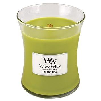 Woodwick Hourglass Pera Perfetta Profumato Candela in Barattolo di Vetro Verde 9.8x9.8x11.6 cm