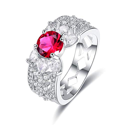 Narica Women's 925 Sterling Silver Filled Round Cut Ruby Spinel Rings for Girl Teens Size 7 ()