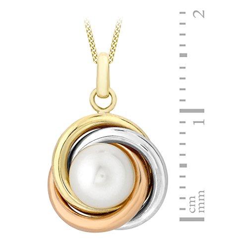 Carissima Gold - Collier avec pendentif - (375/1000) - Or tricolore - Rond - Perle - Femme - 46 centimeters