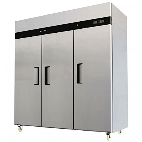 78'' Triple 3 Door Side By Side Stainless Steel Reach in Commercial Refrigerator, MBF-8006, 72 Cubic Feet, for Restaurant by WP Restaurant Fridges
