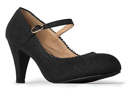 J. Adams Honey Mary Jane - Vintage Retro Scallop Ankle Strap Kitten Heel Pumps (Pump Closed Toe Mary Jane)