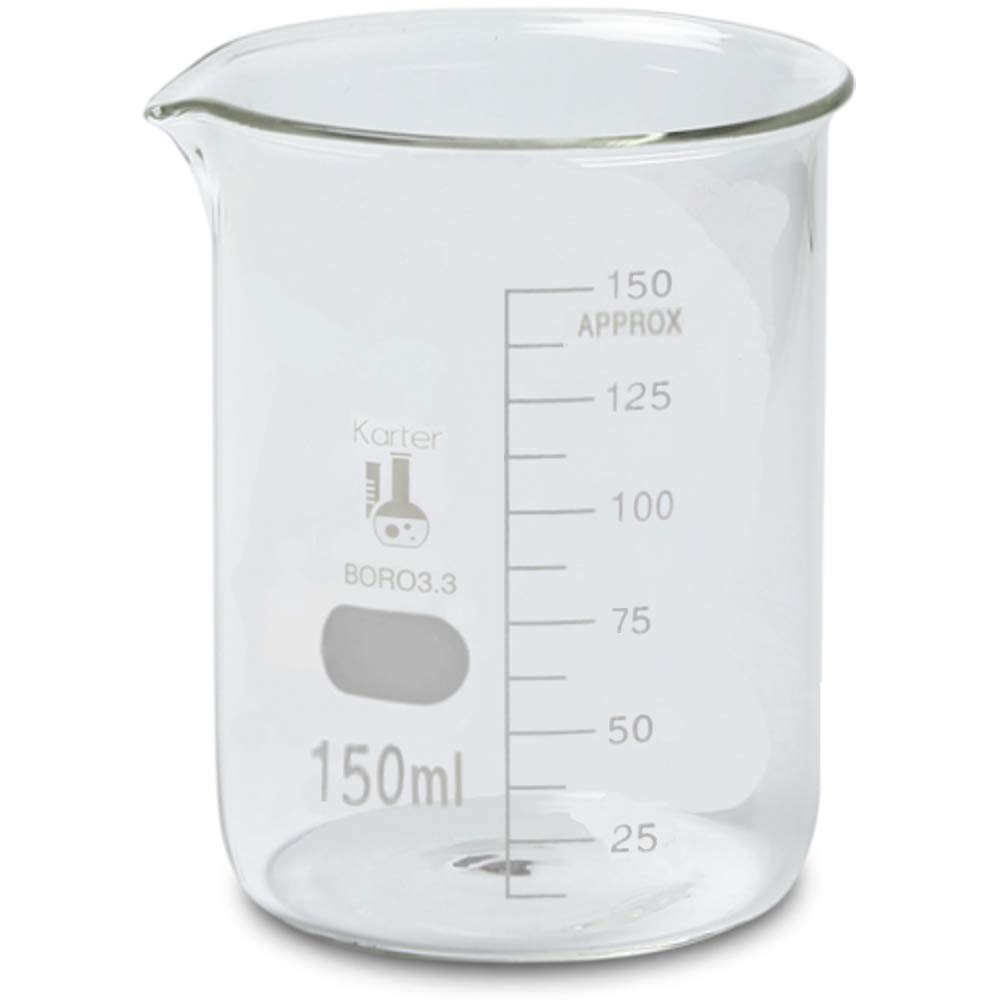 150ml Beaker Low Form Griffin Borosilicate 3.3 Glass with Spout Printed Graduations Karter Scientific 232P4