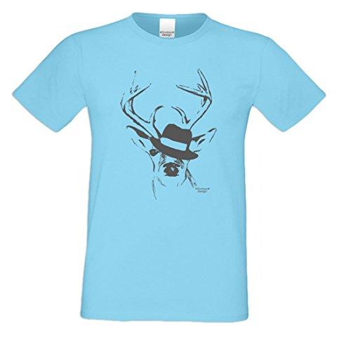 T-Shirt mit Motiv - Wiesn Hirsch mit Hut - Lustiges Outfit auch als Geschenk passend zum Oktoberfest in Hell-Blau