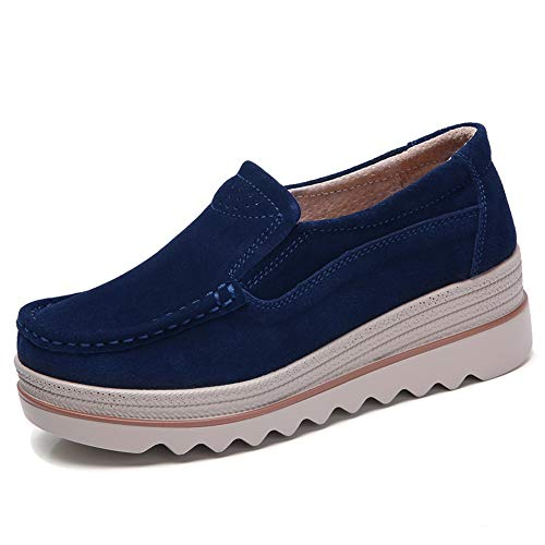 HKR-JJY3088shenlan39 Women Platform Slip On Loafers Comfort Suede Moccasins Wide Low Top Wedge Shoes Dark Blue 7.5 W US