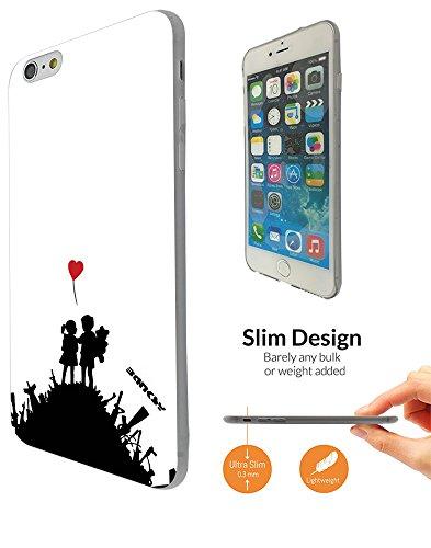 "002274 - Banksy Graffiti Art Hill Boy & Girl Design iphone 6 6S 4.7"" Fashion Trend Leichtgewicht Hülle Ultra Slim 0.3MM Kunststoff Kanten und Rückseite Protection Hülle - Clear"