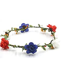 BOSHENG Rose Flower Garland Crown Festival Wedding Hair Wreath Boho Floral Headband