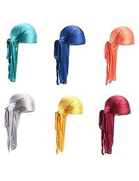 6 Pcs Star Satin Silk Head Wrap Durag Long Tail Beanies Cap Stretchable Velvet Durag Straps Headwraps for Men Women