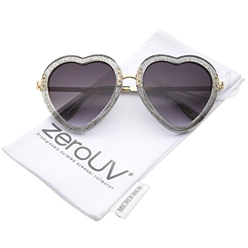 zeroUV - Women's Transparent Glitter Frame Metal Temple Heart Shaped Sunglasses 53mm (Glitter Womens Sunglasses)