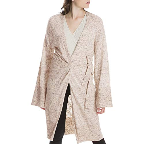 (Max Studio London Womens Linen Blend Belted Cardigan Sweater Pink)