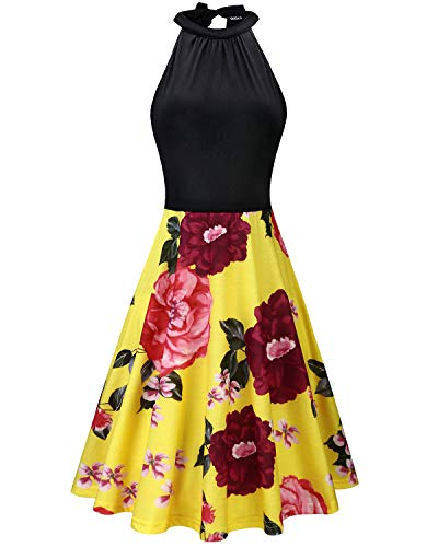 OUGES Women's Stand Collar Off Shoulder Sleeveless Cotton Casual Dress(Floral04,M)