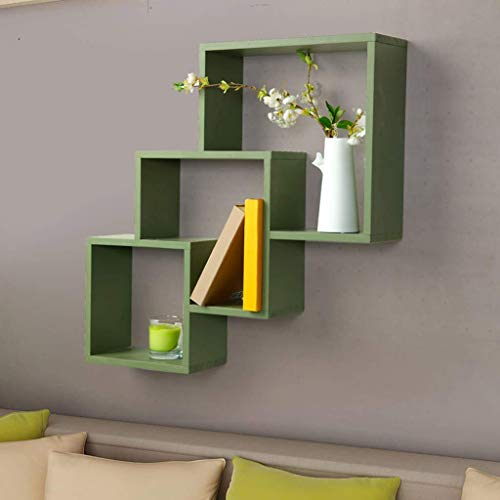Single Tier Modern Locker - Home Wooden Ledge/Green Wall Frame/TV Wall Decoration Bedroom Wall Hanging Bookshelf/Simple Wall Cabinet Wall Locker Display Inventory
