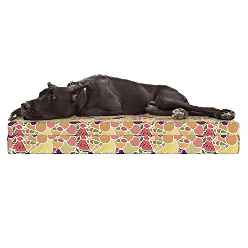 Lunarable Watermelon Dog Bed, Grocery Themed Fruit Pattern with Bananas Strawberries Plums and Pomegranates, Durable Washable Mat with Decorative Fabric Cover, 48