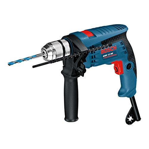 Bosch Professional Schlagbohrmaschine GSB 13 RE, Schnellspannbohrfutter 13 mm, Tiefenanschlag 210 mm, Zusatzhandgriff, 600 W