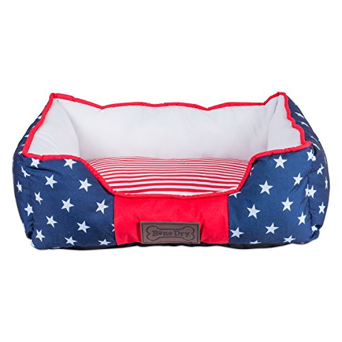 Bone Dry CAMZ37192 DII 4th of July Stars & Stripes Pet Bed, 22x17x7 Rectangle Bed for Dogs Or Cats, Small