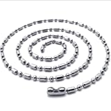 """SANDRA Mens Jewelry 1.5mm-4mm 16""""-40"""" Silver Stainless Steel Ball & Oval Bead Necklace Chain"""