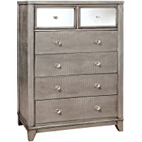 Furniture of America Nilean Contemporary Chest of Drawers, Silver