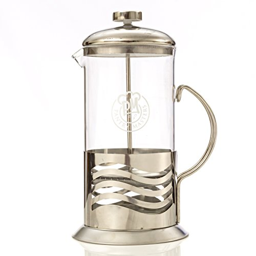 French Press Coffee Maker 34oz 8 Cup Stainless Steel and Borosilicate Glass with Stainless Steel ...