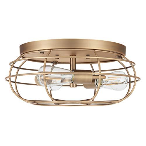 Cartaro 3 Light Industrial Vintage Cage Ceiling Light | Antique Brass Flush Mount Light Fixture with LED Bulbs LL-CL445-3AB ()