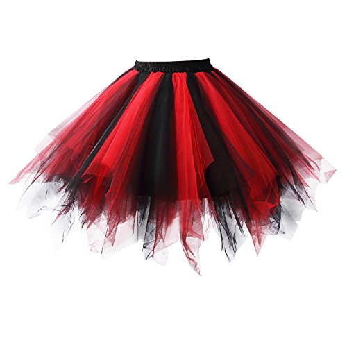 Acecharming Womens Mini Ballet Multi-layer Ruffle Frilly Petticoat Bubble Tutu Costume Skirt (Black&Red)