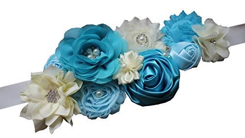Pregnancy Baby Boy - Maternity pregnancy sash for Mon to be baby shower sash flower sash (Blue)