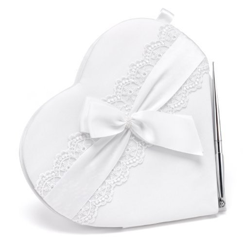Hortense B. Hewitt Lace Allure Wedding Accessories, Heart Shaped Guest Book and Pen Set