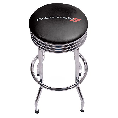 Chrome Seat Ring Bar Stool (Trademark Gameroom Dodge Single Ring Ribbed Stool - Chrome)