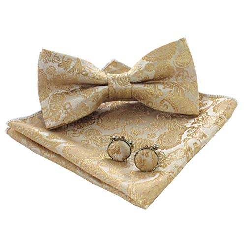 JEMYGINS Mens Gold Paisley Bow Tie and Pocket Square With Cufflinks Set (gold-2) (Square Cufflinks Gold)