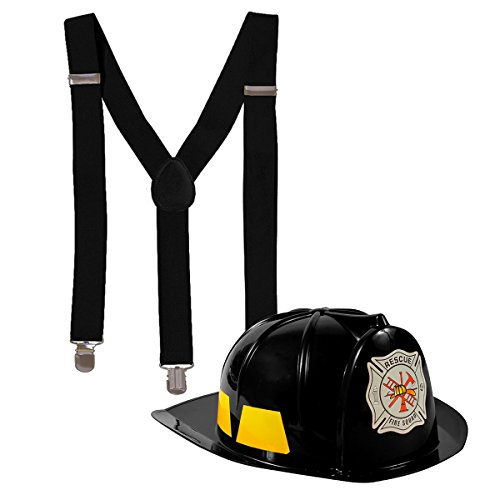 Fireman Costume - Construction Costume - Occupation Costume by Tigerdoe (Black Fireman Hat and Black Suspenders) - Womens Firefighter Halloween Costume