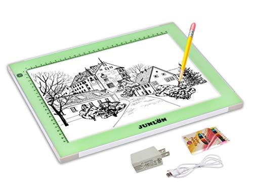 JUNLON Aluminum A4 USB LED Light Pad Light Box Light Table Tracing Board,Adjustable Brightness Ultra-Slim Led Pad Light for Weeding Vinyl,Drawing,Artcraft,Sketching,5D Diamond Painting Full Drill