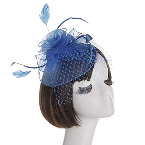 JIANGXIUQIN Women's Fascinators Hat Tea Parties with Dot Veil Bowknot Hair Clip Hat Cocktail Party Hat (Color : Sapphire) - Dot Sapphire