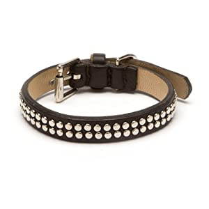 Double Row Rivets Straight Dog Collar, Extra Small Size 8, Black with Rivets